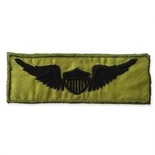 BLACK WINGS ON GREEN MOTIF IRON ON EMBROIDERED PATCH APPLIQUE